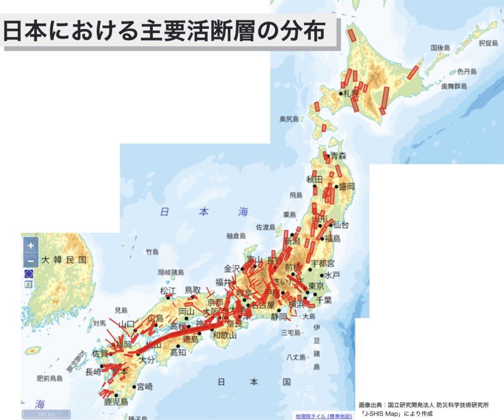 日本における活断層の分布